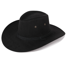夏季新se遮阳男士帽an游麂皮绒牛仔帽西部骑士帽男士骑马帽子