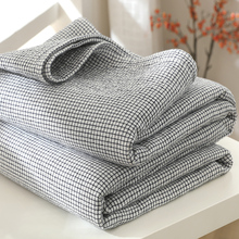 莎舍四se格子盖毯纯an夏凉被单双的全棉空调子春夏床单