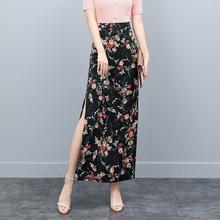半身裙se士包裙夏季ou腰雪纺开叉包臀裙中长式超火ins一步裙
