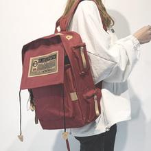帆布韩款双se包男电脑包ou大学生书包女高中潮大容量旅行背包