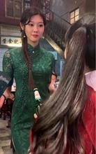 抖音同se娜多可爱绿ou手工串珠旗袍宴会礼服日常改良复古旗袍
