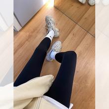 阿一 se020春夏ou皮裤打底裤女外穿 高腰显瘦黑色休闲弹力长裤