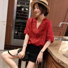 女红色se衫短袖宽松ou(小)衫2020年夏装新式潮货欧洲站