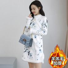 2020年新se3冬季改良za加厚加绒女冬装中长款年轻保暖连衣裙