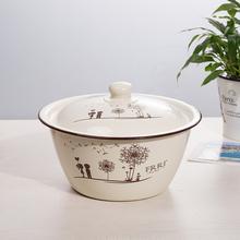 搪瓷盆se盖厨房饺子za搪瓷碗带盖老式怀旧加厚猪油盆汤盆家用