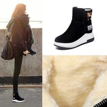 短靴女se020秋冬za靴内增高女鞋加绒加厚棉鞋坡跟雪地靴运动靴