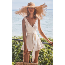 (小)个子se滩裙202za夏性感V领海边度假短裙气质显瘦白色连衣裙