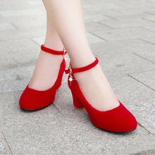 秋季红se结婚鞋新娘za式婚礼红鞋粗跟高跟鞋大(小)码中跟孕妇鞋