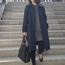 韩国门se品GRAYzaC女式翻领大衣腰带风衣中长式口袋风衣外套1199