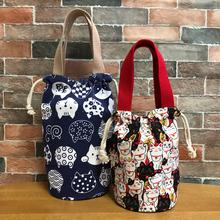 日式抽se圆形保温桶en手提袋学生便当包焖烧壶水杯袋手提包包