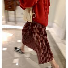 落落狷se高腰修身百en雅中长式春季红色格子半身裙女春秋裙子