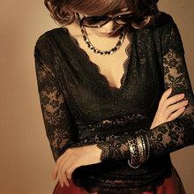 时尚蕾se打底衫女长en韩款夏季内搭v领上衣性感低领镂空短袖