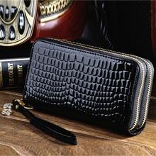 新式大se量女士长式en功能双拉链漆皮多卡位手拿包手机零钱包
