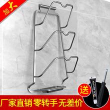 厨房壁se件免打孔挂gi架子太空铝带接水盘收纳用品免钉置物架