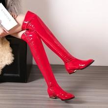漆皮亮se靴女红色靴ie女靴低跟过膝长靴大码靴子(小)码女鞋 JBH