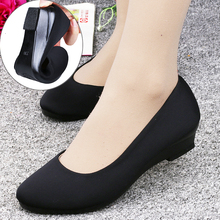 正品老se京布鞋女单ie色工作鞋坡跟鞋高跟鞋上班鞋 舒适养脚鞋
