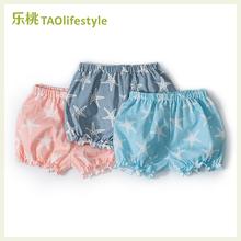 乐桃有se棉女童纱布ie裤夏季薄式(小)女孩宝宝纯棉裤婴幼儿短裤