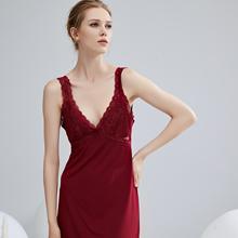 [seritass]蕾丝美背吊带裙性感带胸垫