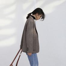 秋冬季se士西装外套fo个子单件上衣网红韩款设计感(小)众英伦风