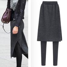 秋冬季se穿假两件打fo加绒显瘦中长式开叉包臀裙裤大码长裤子