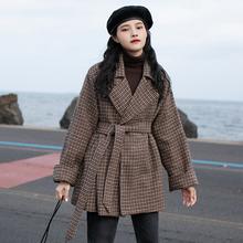 觅定千se格毛呢西装gi秋冬加厚(小)个子大衣2020新式冬季中长式