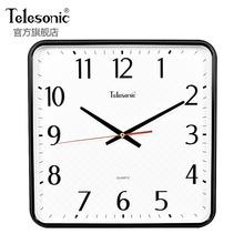 TELsfSONICk6星简约时尚石英钟客厅挂钟方盘居家静音卧室壁钟