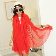 超长围sf女纱巾丝巾sj用超大长式春秋冬季薄式新式大红色