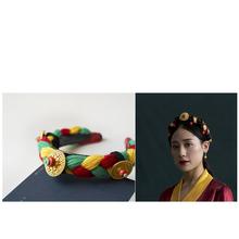藏族头sf 藏式首饰sj辫子 西藏女士编假头发 民族发箍毛线