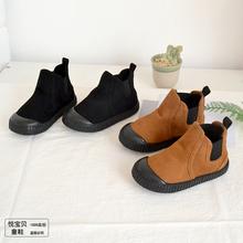 202sh秋冬宝宝短ke男童低筒棉靴女童韩款靴子二棉鞋软底宝宝鞋