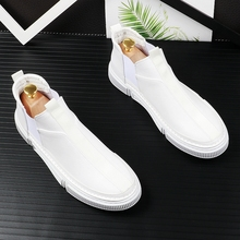 韩款白sh中帮板鞋男ke脚乐福鞋青年百搭运动休闲鞋短靴皮靴子