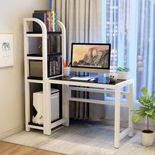 电脑台sh桌 家用 ke约 书桌书架组合 钢化玻璃学生电脑书桌子