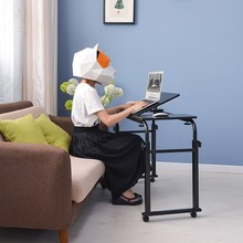 简约带sh跨床书桌子ke用办公床上台式电脑桌可移动宝宝写字桌