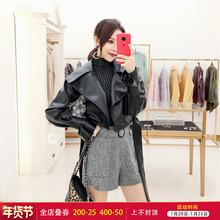 韩衣女sh 秋装短式ke女2020新式女装韩款BF机车皮衣(小)外套