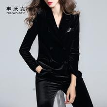 春秋式sh套女百搭长li丝绒(小)西装短式双排扣修身显瘦(小)西服潮