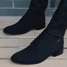 新款春秋男士布面sh5款英伦短li尖头高帮鞋休闲马丁靴男鞋子