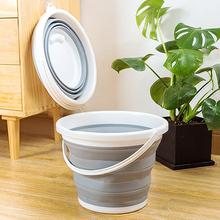 日本折sh水桶旅游户oe式可伸缩水桶加厚加高硅胶洗车车载水桶