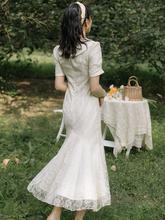 202sh年夏季新式oe众复古少女连衣裙收腰显瘦气质修身鱼尾裙