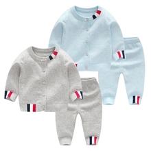 婴儿春装纯棉sh3衣套装男uo春秋开衫外套宝宝针织衫外出衣服