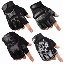 手套男sh冬保暖战术pe指学生薄式半截户外运动骑行半指手套男