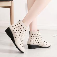 夏季白sh单靴女凉靴il靴坡跟洞洞靴软底妈妈鞋透气中跟女网鞋