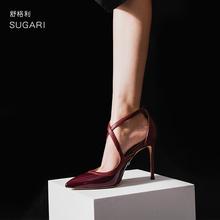 漆皮酒sh色高跟鞋女rk叉绑带一字扣尖头浅口欧美性感10cm单鞋