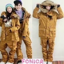 [特价shNAPPIrp式韩国滑雪服男女式一套装防水驼色滑雪衣背带裤