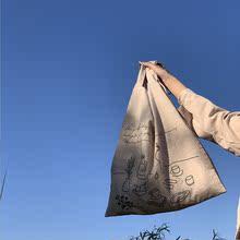 新式日shchic棉hq风帆布袋包 ins风女帆布包单肩手提包