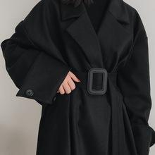 bocshalookht黑色西装毛呢外套大衣女长式大码秋冬季加厚