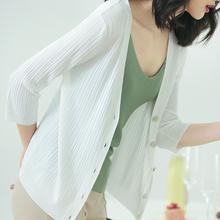 冰丝针sh开衫女夏薄dr021新式穿搭韩款宽松纯色(小)空调潮