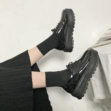英伦风sh鞋春秋季复dr单鞋高跟漆皮系带百搭松糕软妹(小)皮鞋女