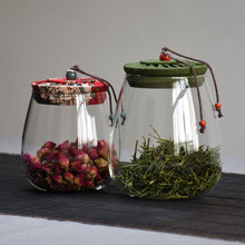 [shengkuai]花布盖茶叶罐玻璃储物罐密