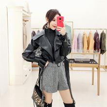 韩衣女sh 秋装短式ng女2020新式女装韩款BF机车皮衣(小)外套