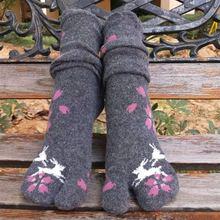 一双包sh卡通日本冬pe保暖两趾袜女士中筒分趾袜子二指木屐
