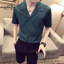 网红很sh的短袖发型oh个性帅气薄寸衫潮男痞帅半袖衬衣